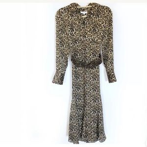 Equipment Lenora Leopard Belted Shirt Dress XS